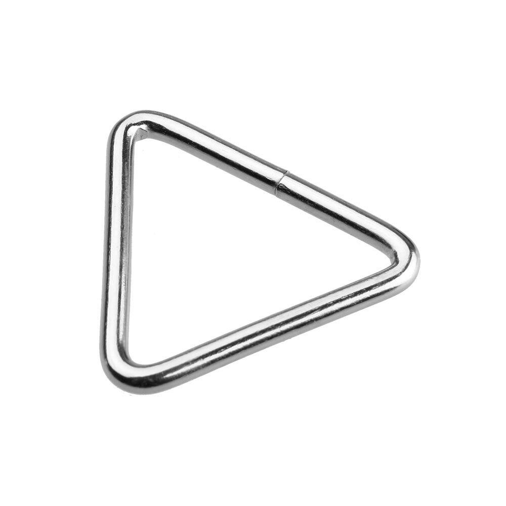 10 Pz Silvery Triangle Buckle Handbag Cintura Anello Singolo Sacchetto Di Cuoio Accessori Fai Da Te Spessore 4mm
