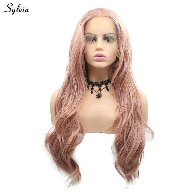 Sylvia Mixed Rosa Farbe Synthetische Wellenförmige Haar Lange Rose