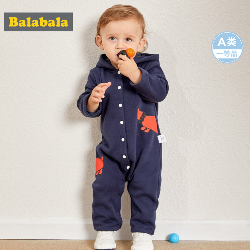 Balabala Infant Baby Boy Girl 100% Cotton Lined Graphic Hooded Jumpsuit With Snap Closure For Winter Newborn Baby One-Piece