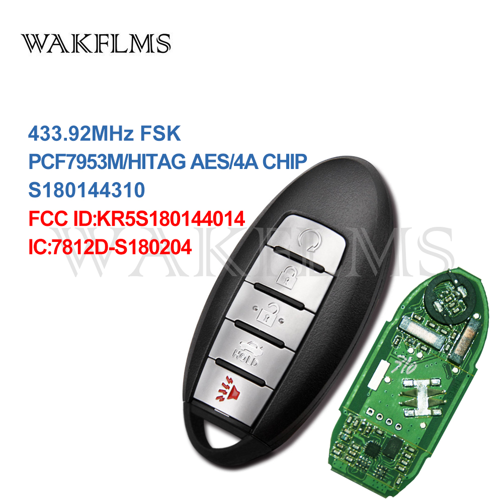 5 Buttons Smart Remote Car Key 433Mhz For NISSAN Altima Maxima Infinite QX60 2016 with PCF7953M