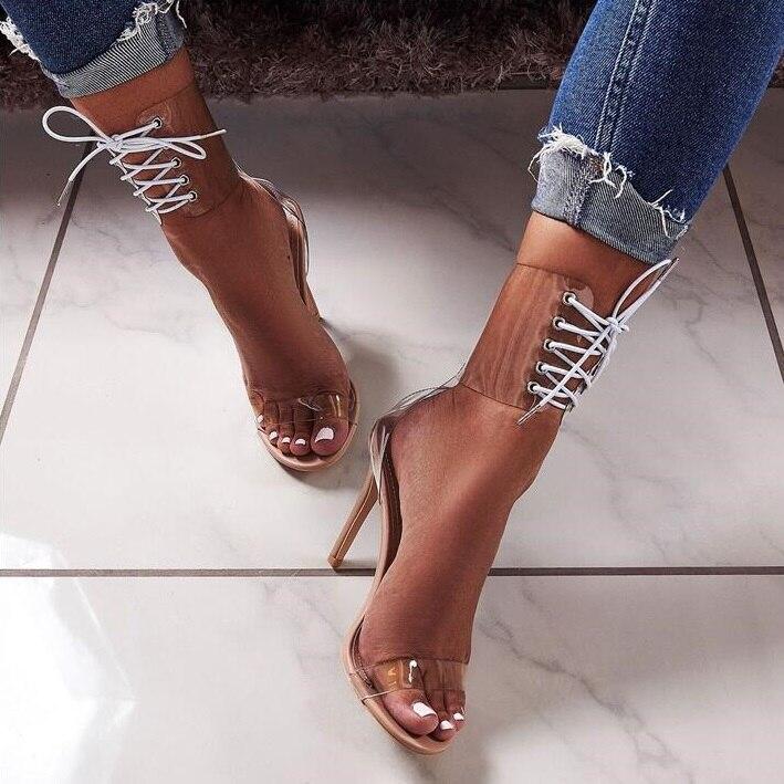 Модные босоножки с перекрестными ремешками на каблуке шпильке на шнуровке модельные туфли гладиаторы из прозрачного ПВХ с вырезами туфли л... - 2