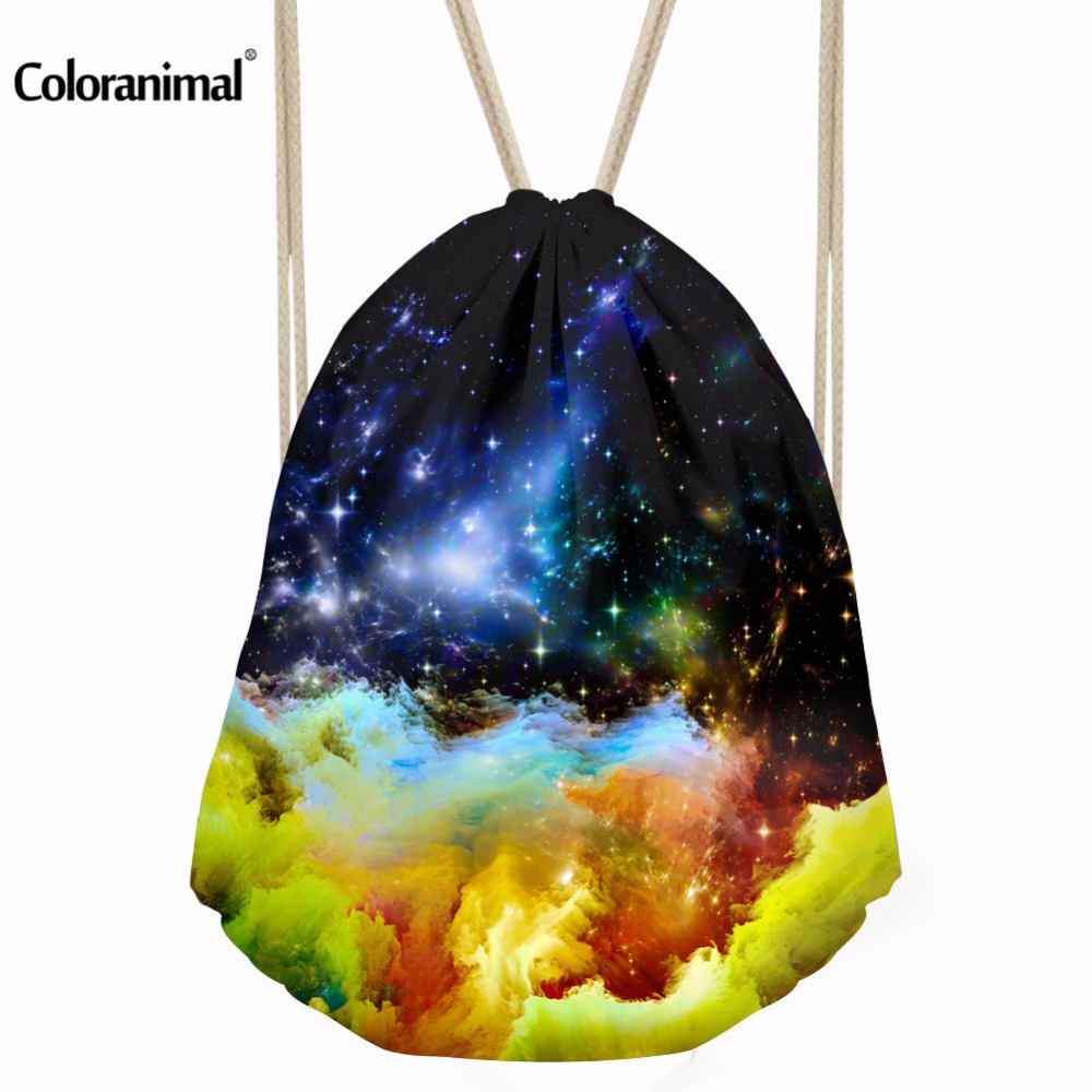 INSTANTARTS Women Men Sports Bags Galaxy Gym Drawstring Backpack Unisex  Small Gymsack Outdoor Athletic Swim Fitness Canvas Bag