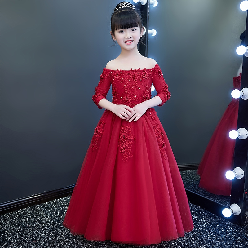 2018 Fashion Girls Kids Wine-red Luxury Birthday Wedding Party Flowers Princess Lace Long Dress Children Dance Pageant Dress girls europe and the united states children s wear red princess long sleeve princess dress child kids clothing red bow lace