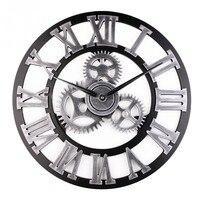3D Retro Gear Wall Clock Wandklo Cheap Wall Clocks Vintage Watch Reloj de Pared Large Decoracion Antique Klok Home Decor Watches