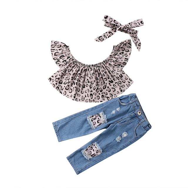 Fashion Toddler Kids Girl Clothes Summer Off shoulder Leopard Crop Tops+Ripped Denim Pant Jean Headband 3PCS Clothing Set