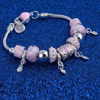 Pink Crystal Charm Silver Bracelets & Bangles for Women  Beads Silver Bracelet Femme Jewelry 4