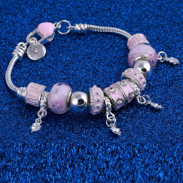 Pink Crystal Charm Silver Bracelets Bangles for Women With Beads Bracelet Silver Buyback