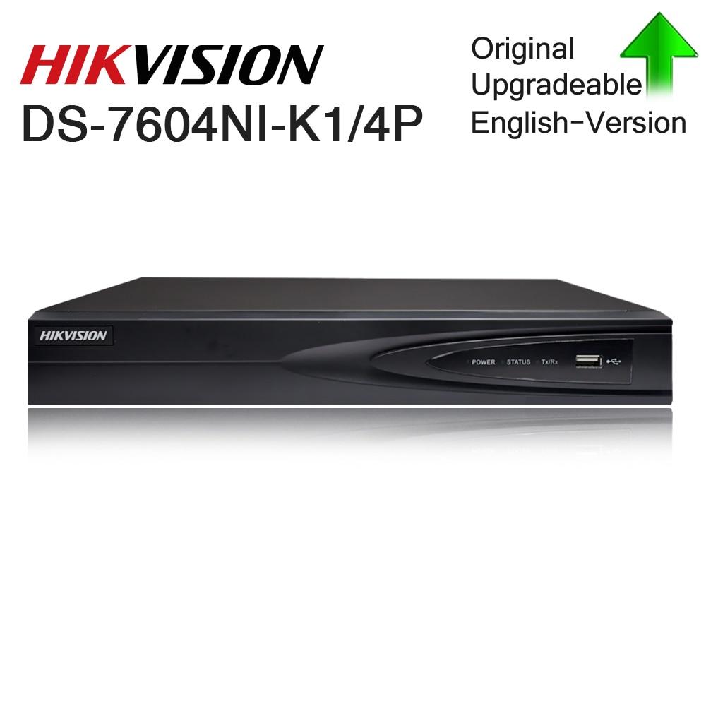Hikvision Original 4CH Nvr DS-7604NI-K1/4 P enregistreur vidéo réseau 4 Ports PoE enregistreur de caméra CCTV 4 canaux intégré Plug-Play