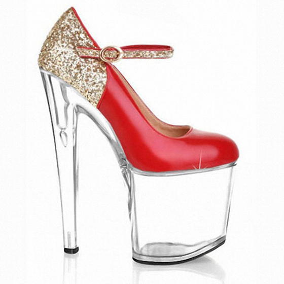 Hot Women The bride shoes 20cm clear wedding sexy heels silver glitter heels Fashion women pumps gold sexy clubbing high heels bride of the water god v 3