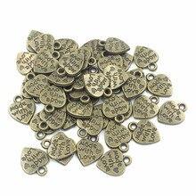 Купить с кэшбэком Pendants For Bracelets DIY Craft Charms Jewelry Findings Antique Bronze Tone Made With Love Heart Metal 12x10mm 50Pcs