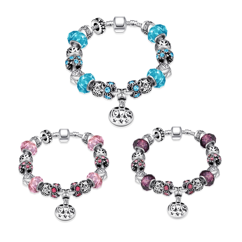 Silver 925 Murano Glass Charms Fit Original Pandor Bracelet Diy Jewelry Making Women Text Love Colorful Ladies Bracelet Gifts