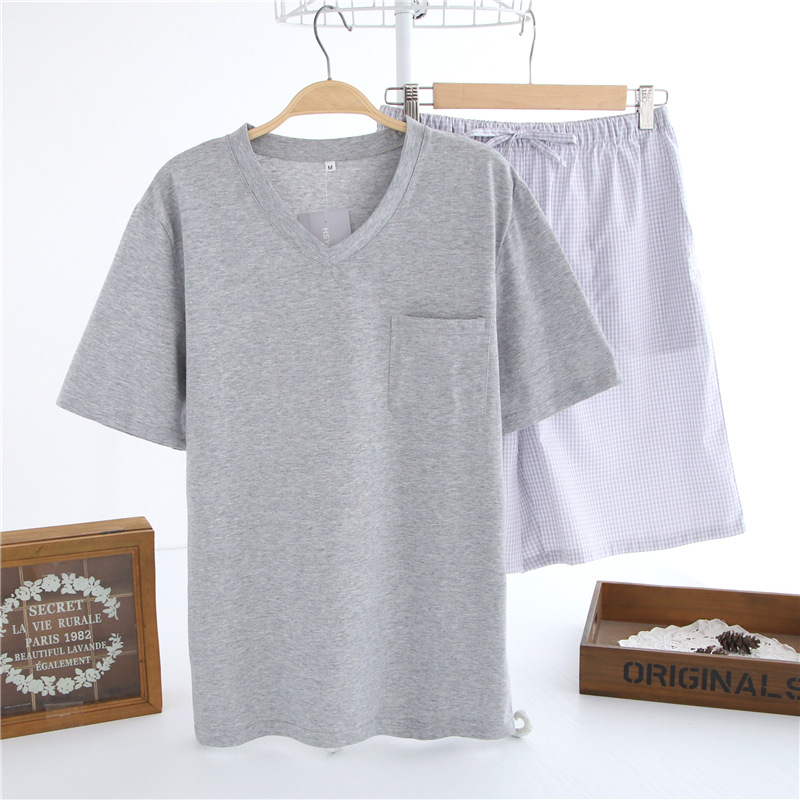 Mens Pajamas Suit Lounge Sleepwear Male Short-Sleeved Cotton Casual Summer Home V-Neck