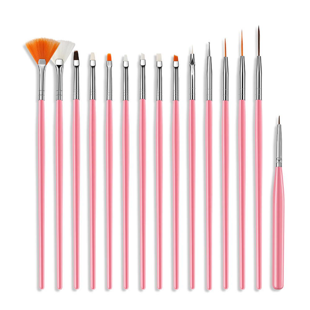 15pcs set UV Gel Polish Brushes Design Builder Painting Nail Art beauty Pen Nail Brush Dotting Drawing Painting Pen Nail Tools in Sets Kits from Beauty Health