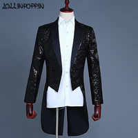 Men Sequin Tuxedo Notched Lapel Swallow tailed Suit Jacket Mens Paillette Long Coat Stage Magician Costume