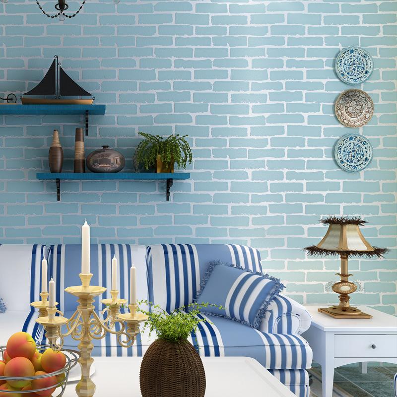 beibehang azul papel de ladrillo papel pintado para paredes d mural de parede prr quarto