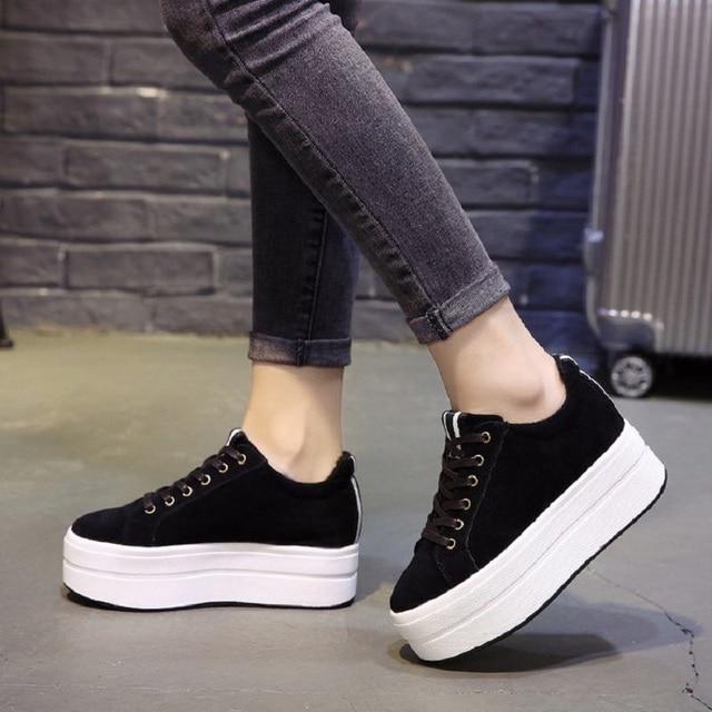 Yüksek Topuklu Bayan rahat ayakkabılar 2018 Bahar Moda Dantel-Up kadın ayakkabısı İngiliz Tarzı Kadın Ayakkabı Sonbahar platform ayakkabılar