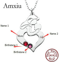 Amxiu Women's Day Gift Custom 925 Sterling Silver Pendant Necklace Engrave Two Names Cubic Zircon Necklace For Mother Mom Gifts
