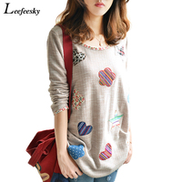 New 2015 Lady Vintage Flower Floral Patchwork Knitted Long Sleeve Loose T Shirt Sweater Tops Women