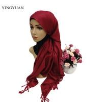 CJ001 Solid color muslim scarf hijabs tassel fashion scarf of womens