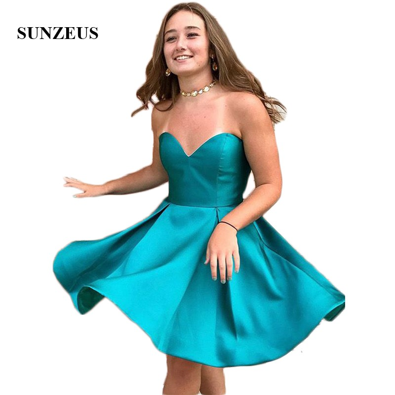 Vereinigt Ozean Blau Satin Homecoming Kleider 2019 Schatz A-linie Knielangen Nette Party Kleider Vestido De Formatura Shd03 Gute WäRmeerhaltung Weddings & Events