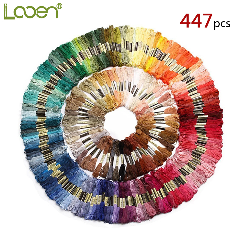 447pcs DIY Cross Stitch Threads Hand Embroidery Floss Skeins Full Range Of Colors Friendship Bracelets Floss Crafts Floss