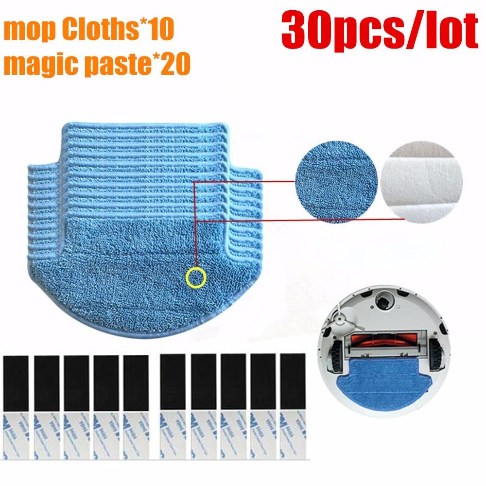 30pcs/lot Original thickness Xiaomi Mi Robot Vacuum Cleaner mop Cloths Parts kit ( mop Cloths*10+magic paste*20) aspirador