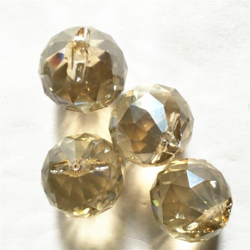 Cognac 20pcs 1 Holes Glass Crystal Balls 15mm Balls Pendant, Crystal Prism Pendnats, Crystal Decoration