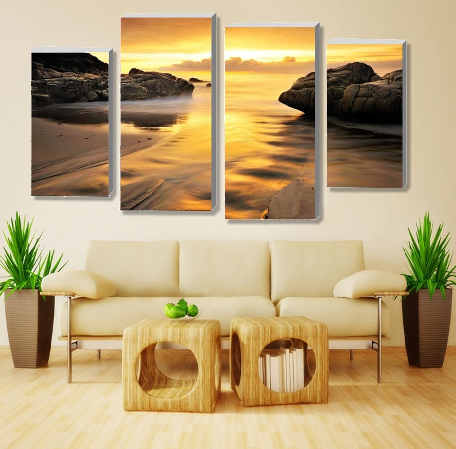 4 Pieces Unframed Wall Art Picture Gift Home Decoration Canvas Art ...