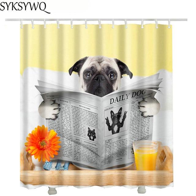 Read News Paper Pet English Bulldog Shower Curtain Fabri Polyester  Waterproof Cartoon Bath Curtains With Dog