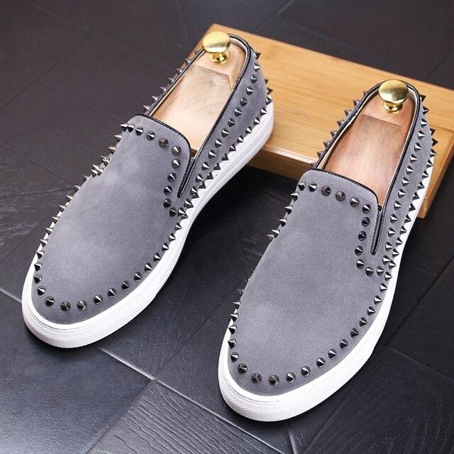 CuddlyIIPanda 2019 mężczyźni New Arrival oddychające buty na co dzień mężczyźni moda Sneakers mężczyźni Slip On nity mokasyny kapcie palenia