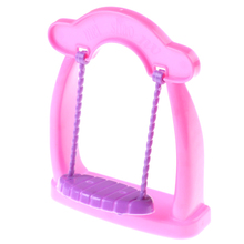 Plastic Pink Handmade Cute Swing Chair For Barbie Doll Dollhouse Miniature Furniture Doll House Decoration Kid's Play House Toys(China)