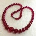 Мода 6-14 мм природные бразильский роза красная камень яшма нефрит халцедон подвески женщины chain choker башня ожерелье 18 дюймов GE4040