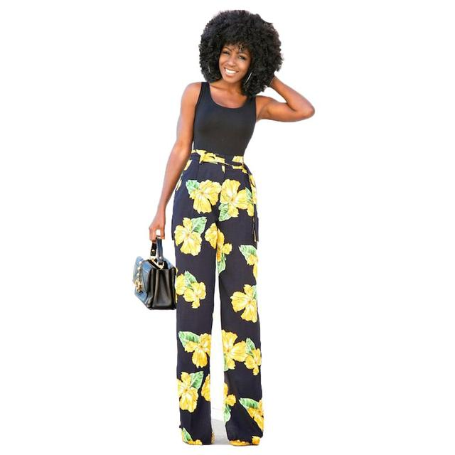 1c2dfcd460cd Summer Hot Selling Casual Print Two Pieces Women Jumpsuit Black Tank Top  Floral Long Pants Ladies
