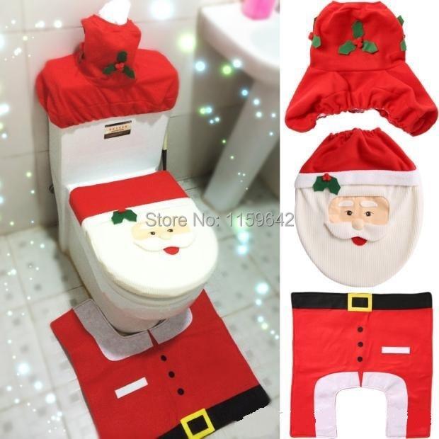 New XMAS Santa Toilet Seat Cover Rug Bathroom Mat Set Christmas Decorations 3pcs