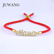 JUWANG Mother Mama  Bracelet & Bangle for Women Girl  Micro Pave Cubic Zirconia lurky Red Srting Rope Bracelets Jewelry Gift