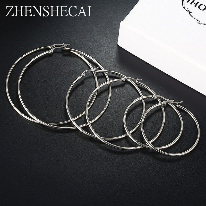 12 Size Sliver Color Metal Big Hoop Earrings For Women Round Circle Earrings Brincos Jewelry Party Rock Gift For Girl E090