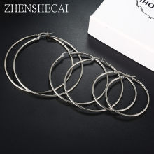 12 size Sliver Color Metal Big Hoop Earrings for Women Round Circle Earrings Brincos Jewelry Party Rock Gift for girl e090(China)