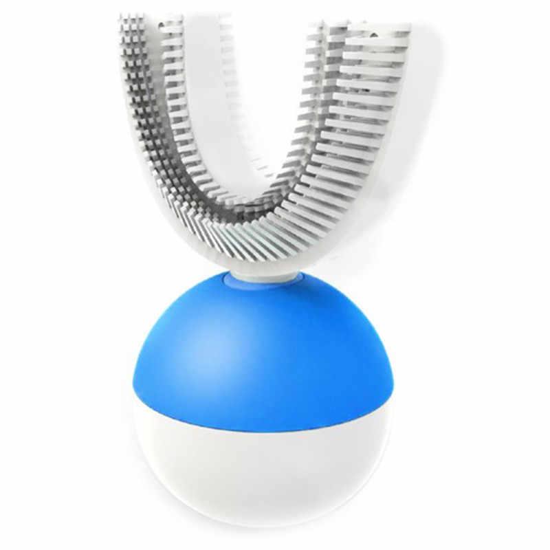 Nuevo cepillo de dientes eléctrico sónico automático en forma de U 360 grados Ultra sónico limpiador de dientes para gente perezosa cepillo de dientes eléctrico