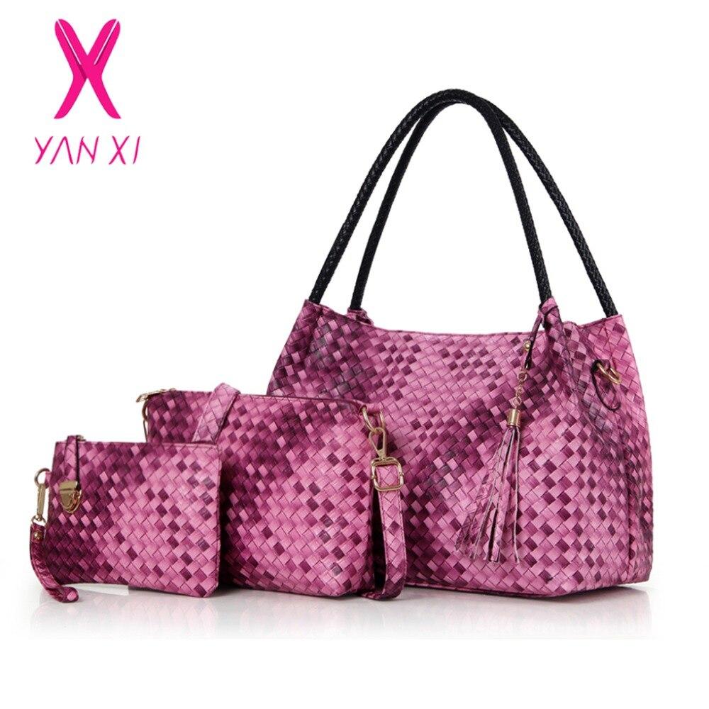 ФОТО YANXI New Factory Outlets Leather Female Retro Weave PU Handbags Messenger Shoulder Totes Luxury Handbags Women Bags Designer