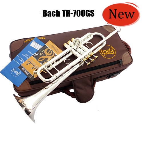 Vincent Bach Trumpet TR-700GS Trumpet Instruments Silvering Gold Key Brass Bb Trumpet with Mouthpiece Gloves Free Shipping legrand 61765