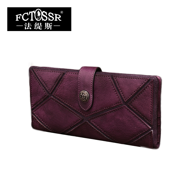 Women Wallet Vintage Genuine Leather Clutch Wallets Cow Leather Bag Women Long Style Purse Coin Card Holder Day Clutches women genuine leather character embossed day clutches wristlet long wallets chains hand bag female shoulder clutch crossbody bag