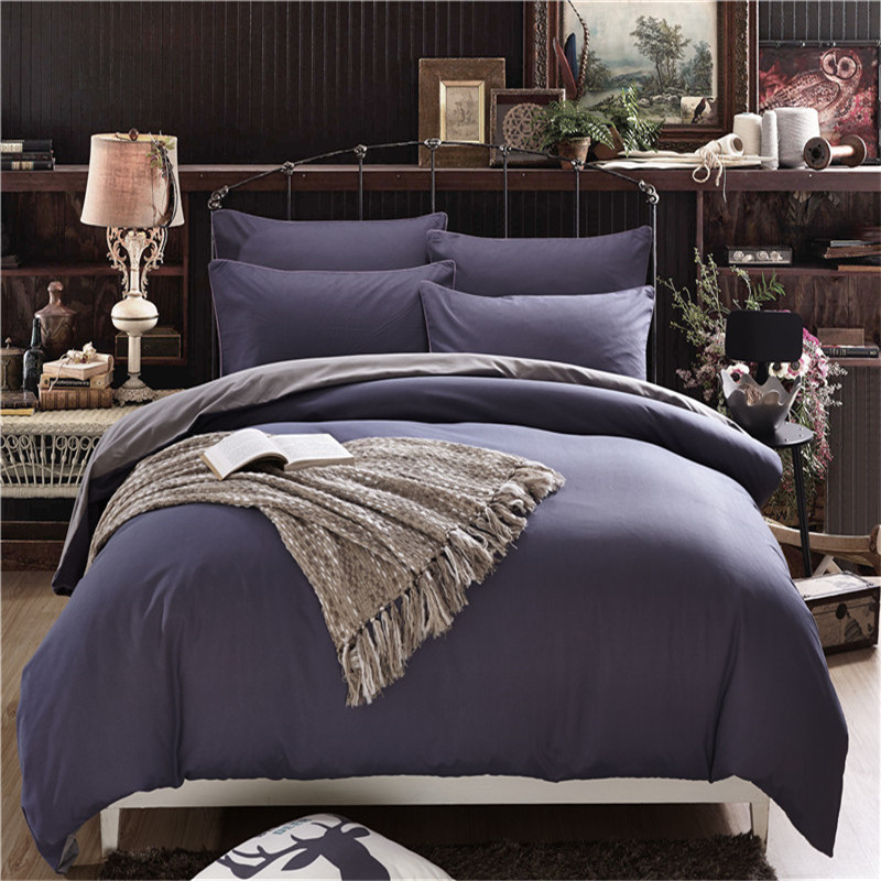 solid colour simple life bedding set polyester duvet cover flat sheet pillowcase comforter bed set twin - Twin Bed Comforters
