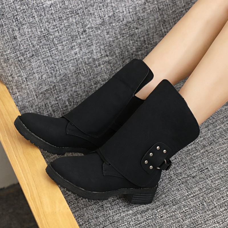 COOTELILI Buckle Shoes Woman PU Leather Ankle Boots For Women 4cm Heels Motorcycle Boots Ladies Autumn Winter Shoes 41 42 43  (9)