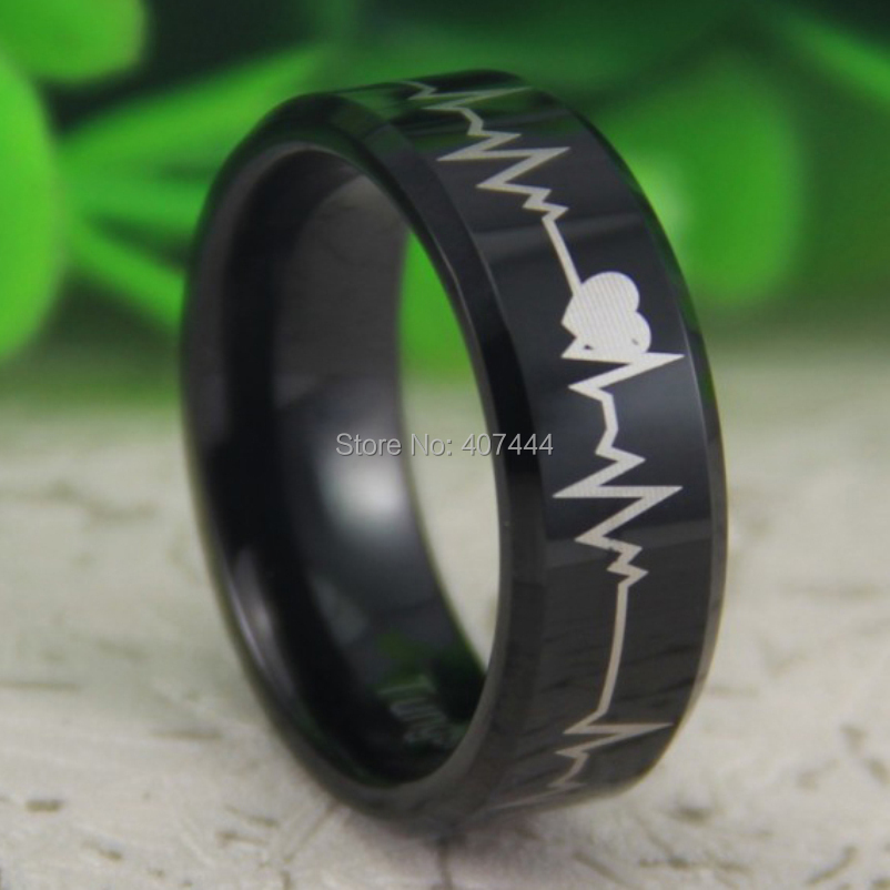 Free Shipping USA UK Canada Russia Brazil Hot Sale 8MM Black Bevel Star Forever Love Heart Beat Men's Lord Tungsten Wedding Ring