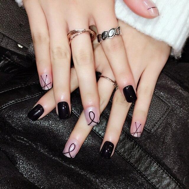 Mode Klare Rosa Falsche Nagel Schwarz Einfache Linie Muster Nails