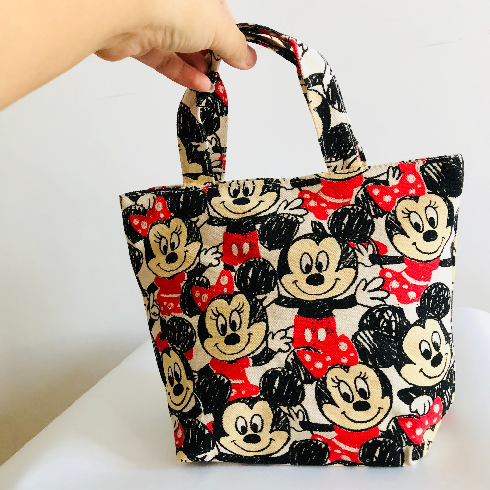 Mickey Minnie Lunch Bag Cartoon Cute Bag Canvas Picnic Travel Storage Bag Fashion Lunch Bags For Women Girls Ladies Kids