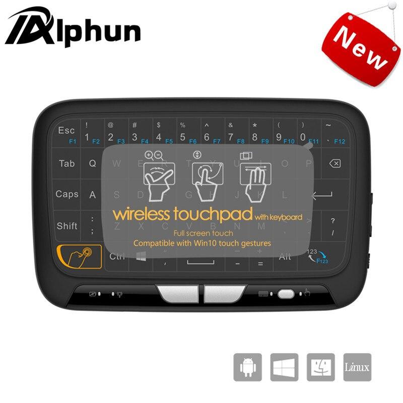 Alphun Novo H18 Sem Fio Air Mouse Touchpad mini teclado 2.4 GHz Completo jogos Touch pad Para PS3 TV Inteligente Caixa de TV PC Android janelas