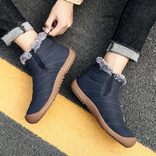 2019 Winter Casual Snow Boots Men Waterproof Ankle Boots Flat Slip-on Resistant Fashion Man Winter Shoes Big Size