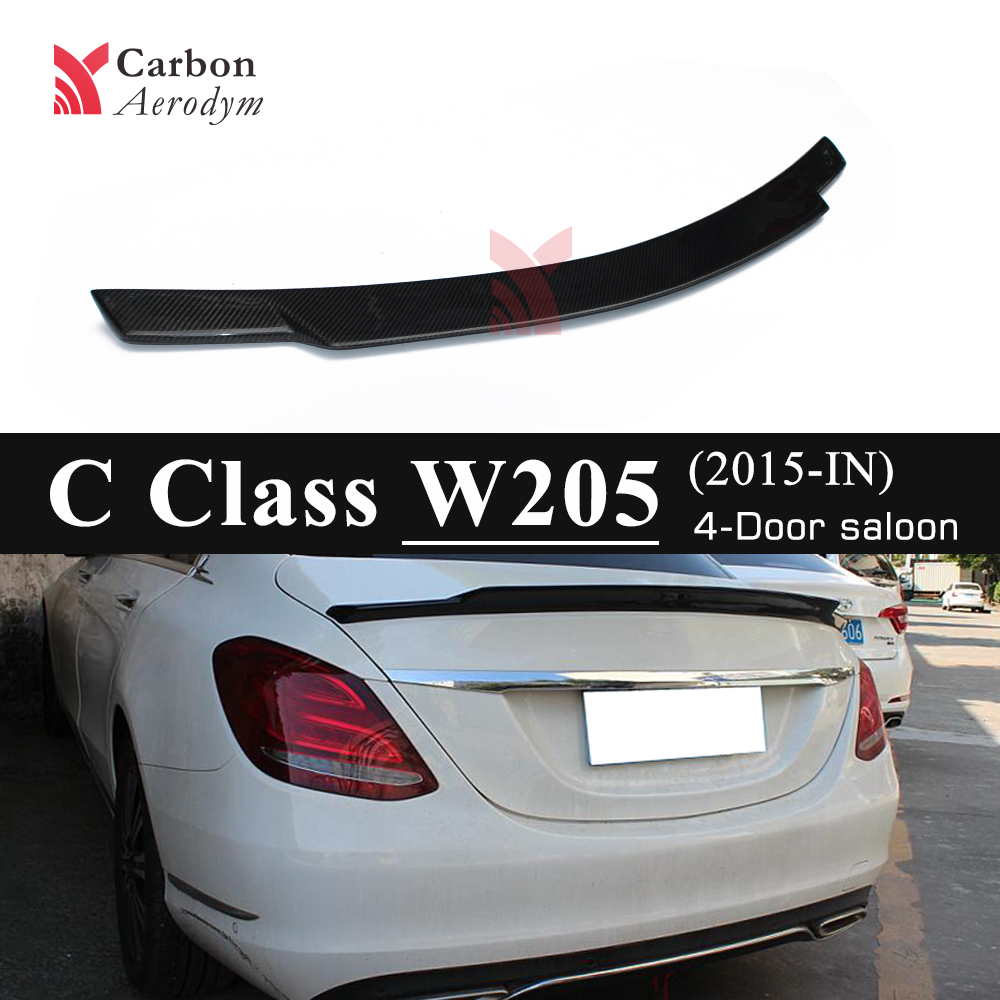 For Mercedes W205 Spoiler 4 Door Sedan C74 Style C180 C200 C250 C260 Carbon Tail Wing Spoilers 2015+|Spoilers & Wings| |  - title=