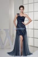 free shipping 2016 new design one shoulder short front long back open leg dress crystal ladies beaded dresses sexy evening dress